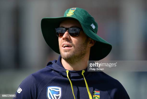AB de Villiers of South Africa warms up before the oneday match between Northamptonshire and South Africa at the County Ground on May 21 2017 in...