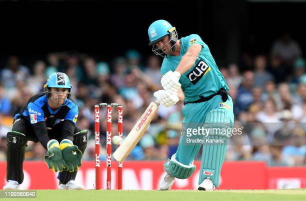 AB de Villiers of the Heat hits the ball to the boundary for a four during the Big Bash League match between the Brisbane Heat and the Adelaide...