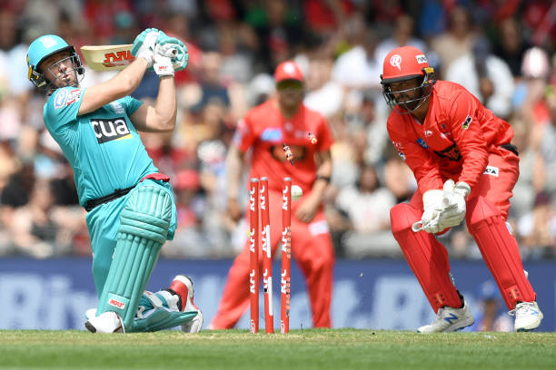 AB de Villiers of the Heat is bowled by Samit Patel of the Renegades during the Big Bash League match between the Melbourne Renegades and the...
