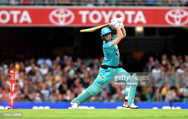 De Villiers of the Heat is clean bowled during the Big Bash League match between the Brisbane Heat and Melbourne Renegades at The Gabba on January...