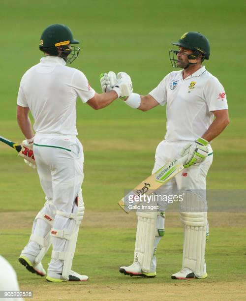 AB de Villiers of the Proteas celebrates his 50 with Dean Elgar of the Proteas during day 3 of the 2nd Sunfoil Test match between South Africa and...