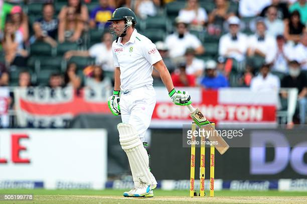 AB de Villiers of the Proteas out for a duck during day 3 of the 3rd Test match between South Africa and England at Bidvest Wanderers Stadium on...