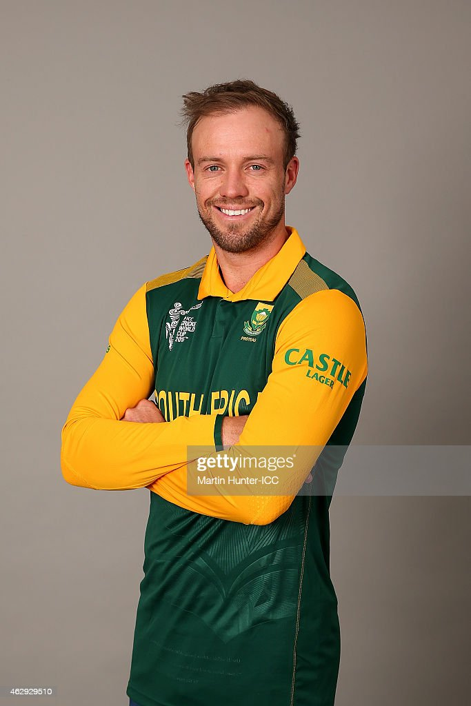AB de Villiers poses during the South Africa 2015 ICC Cricket World Cup Headshots Session at the Rydges Latimer on February 7, 2015 in Christchurch, New Zealand.