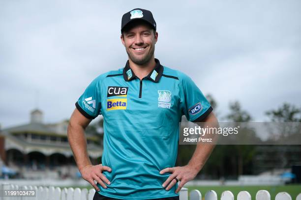 De Villiers poses for photos during a Brisbane Heat BBL media opportunity at Allan Border Field on January 13, 2020 in Brisbane, Australia.