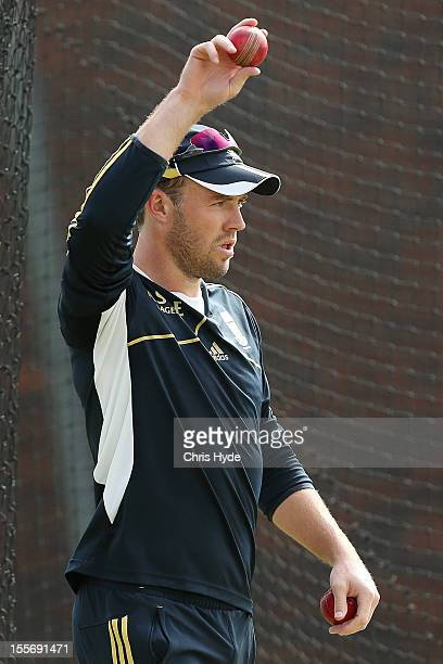 AB de Villiers preapares to bowl during a South African nets session at The Gabba on November 7 2012 in Brisbane Australia