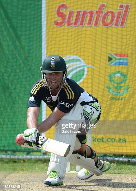 AB de Villiers reverse sweeps a delivery during the South African National cricket team training session at Bidvest Wanderers Stadium on January 30...