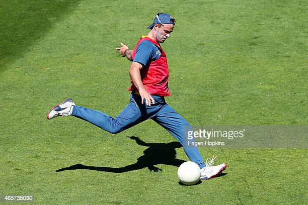 AB de Villiers takes part in a game of football during a South African nets session at Basin Reserve on March 10 2015 in Wellington New Zealand