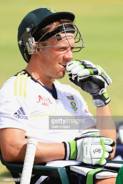 AB de Villiers waits to bat during the South African national cricket team nets session and press conference at Claremont Cricket Club on January 17...