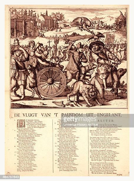 De Vlugt Van 't Pausdom Uit Engelant Hooghe Romeyn De 16451708 Artist [1689] 1 Print Etching With Letterpress Print Shows Louis Xiv With Peg Leg...