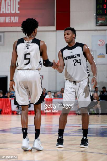 De'Aaron Fox and Buddy Hield of the Sacramento Kings high five each other during the game against the Memphis Grizzlies during the 2017 Las Vegas...