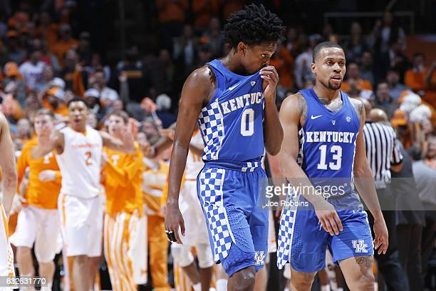 De'Aaron Fox and Isaiah Briscoe of the Kentucky Wildcats react in the second half of the game against the Tennessee Volunteers at ThompsonBoling...