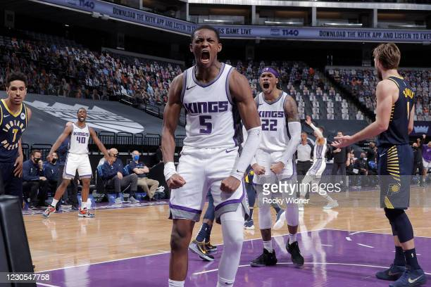 De'Aaron Fox and Richaun Holmes of the Sacramento Kings react to a play during the game against the Indiana Pacers on January 11, 2021 at Golden 1...
