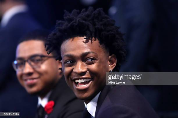 De'Aaron Fox looks on during the first round of the 2017 NBA Draft at Barclays Center on June 22 2017 in New York City NOTE TO USER User expressly...