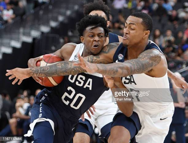 De'Aaron Fox of the 2019 USA Men's National Team is fouled as he drives against John Collins of the 2019 USA Men's Select Team during the 2019 USA...