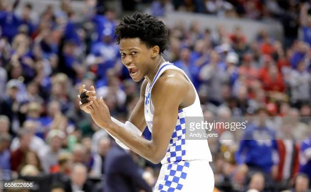 De'Aaron Fox of the Kentucky Wildcats celebrates against the Wichita State Shockers during the second round of the NCAA Basketball Tournament at...
