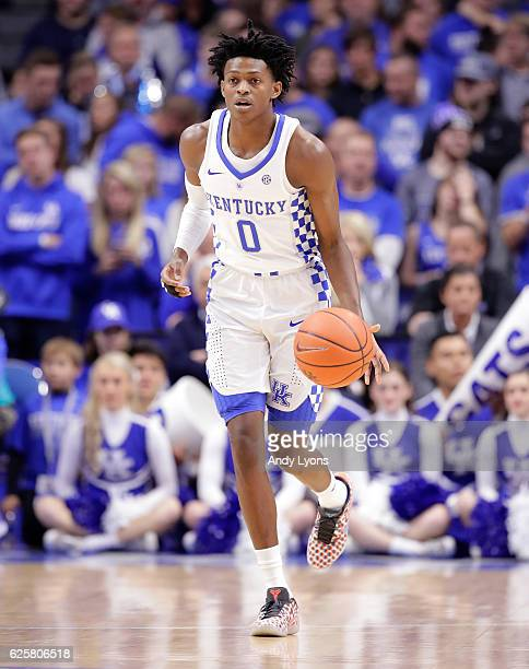 De'Aaron Fox of the Kentucky Wildcats dribbles the ball during the game against the Tennessee Martin Skyhawks at Rupp Arena on November 25 2016 in...