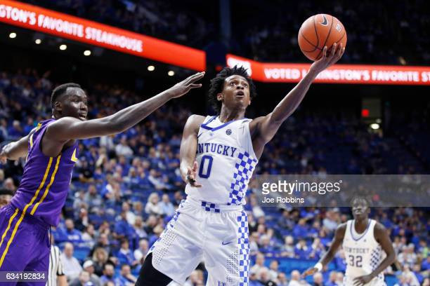 De'Aaron Fox of the Kentucky Wildcats drives to the basket against the LSU Tigers in the second half of the game at Rupp Arena on February 7 2017 in...