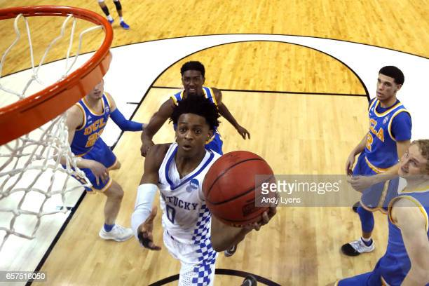 De'Aaron Fox of the Kentucky Wildcats drives to the basket against the UCLA Bruins in the second half during the 2017 NCAA Men's Basketball...