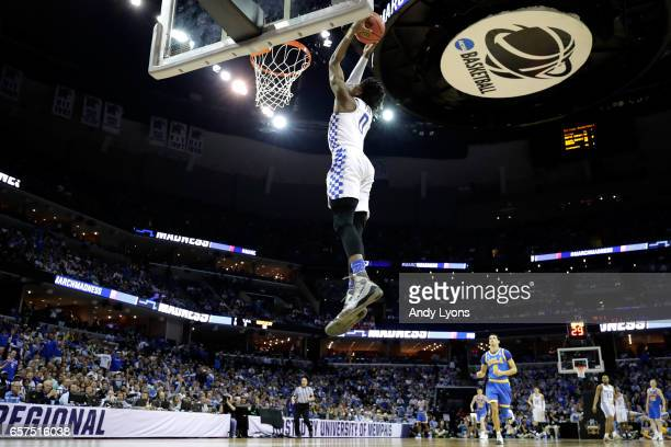 De'Aaron Fox of the Kentucky Wildcats goes up for a dunk in the second half against the UCLA Bruins during the 2017 NCAA Men's Basketball Tournament...