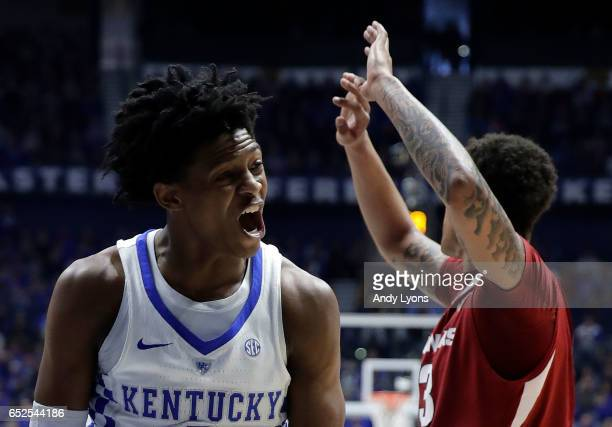 De'Aaron Fox of the Kentucky Wildcats reacts against Dustin Thomas of the Arkansas Razorbacks during the championship game at the 2017 Men's SEC...