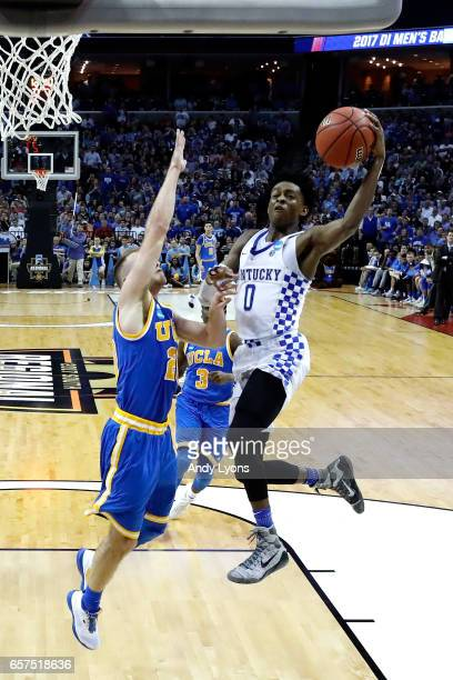 De'Aaron Fox of the Kentucky Wildcats shoots against Bryce Alford of the UCLA Bruins in the second half during the 2017 NCAA Men's Basketball...