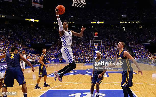 De'Aaron Fox of the Kentucky Wildcats shoots the ball against the Canisius Golden Griffins at Rupp Arena Stadium on November 13 2016 in Lexington...