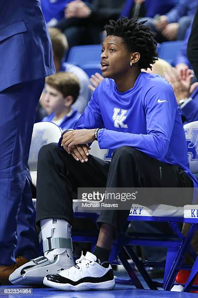 De'Aaron Fox of the Kentucky Wildcats sits on the bench after being injured in the first half against the South Carolina Gamecocks at Rupp Arena on...
