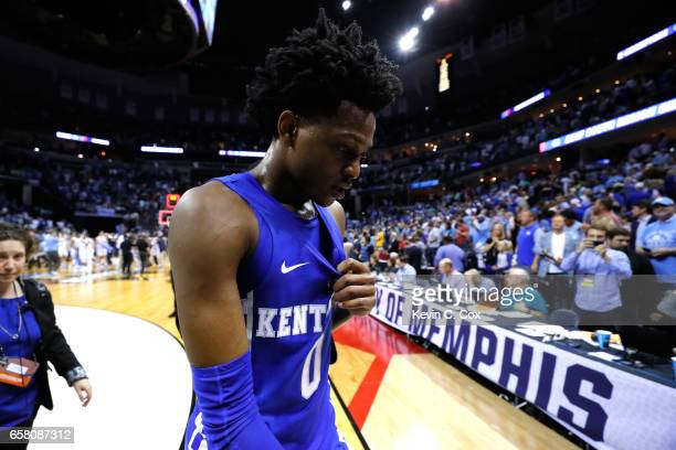 De'Aaron Fox of the Kentucky Wildcats walks off the court after being defeated by the North Carolina Tar Heels during the 2017 NCAA Men's Basketball...