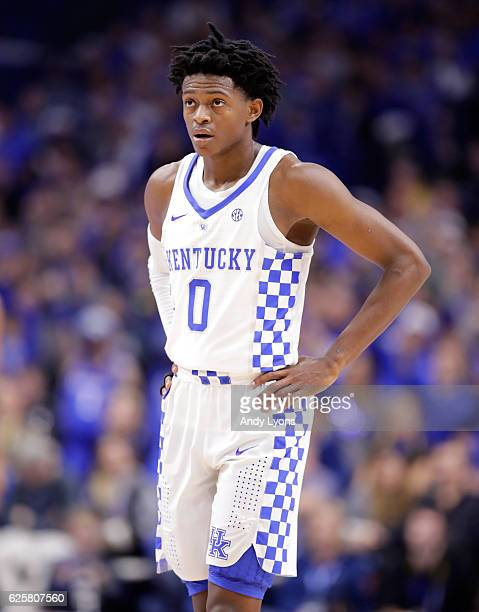 De'Aaron Fox of the Kentucky Wildcats watches the action during the game against the Tennessee Martin Skyhawks at Rupp Arena on November 25 2016 in...