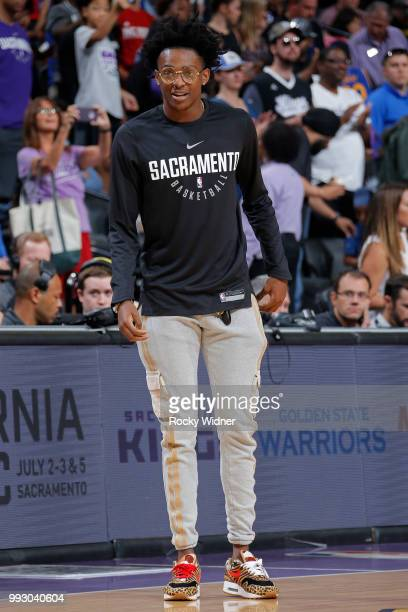 De'Aaron Fox of the Sacramento Kings attends the game between Sacramento Kings and Miami Heat during the 2018 Summer League at the Golden 1 Center on...