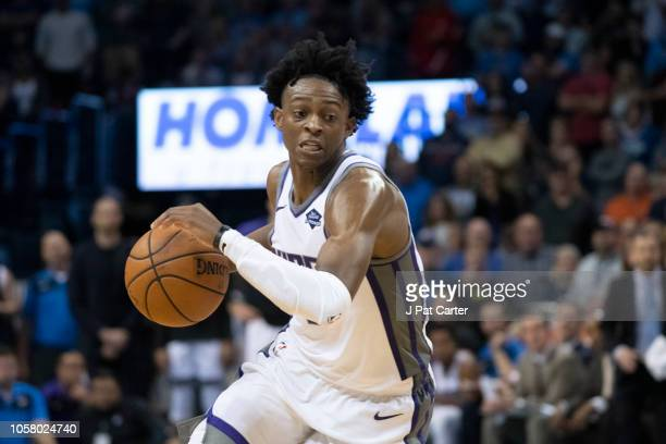 De'Aaron Fox of the Sacramento Kings brings the ball up court during the second half of a NBA game at the Chesapeake Energy Arena on October 21 2018...