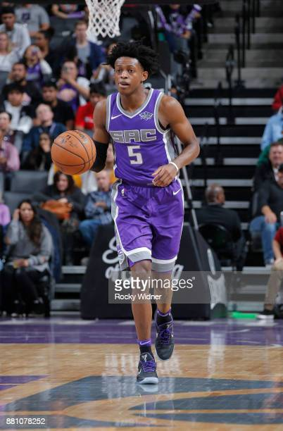 De'Aaron Fox of the Sacramento Kings brings the ball up the court against the Los Angeles Lakers on November 22 2017 at Golden 1 Center in Sacramento...