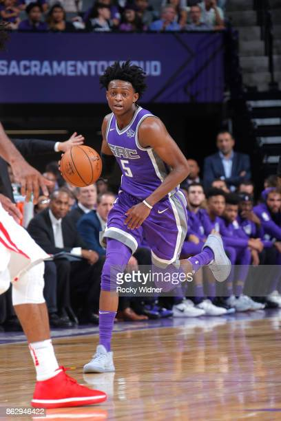 De'Aaron Fox of the Sacramento Kings drives to the basket against the Houston Rockets during the game on October 18 2017 at Golden 1 Center in...