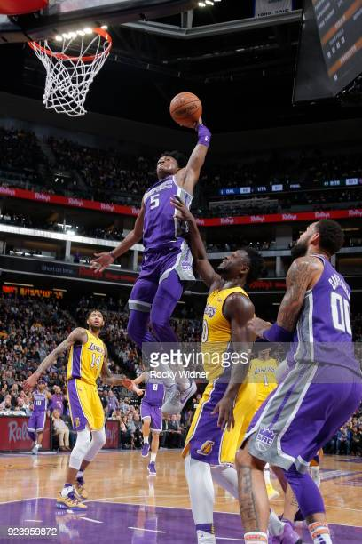 De'Aaron Fox of the Sacramento Kings dunks against the Los Angeles Lakers on February 24 2018 at Golden 1 Center in Sacramento California NOTE TO...