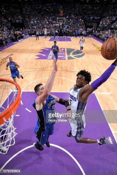 De'Aaron Fox of the Sacramento Kings dunks the ball against the Orlando Magic on January 7 2019 at Golden 1 Center in Sacramento California NOTE TO...