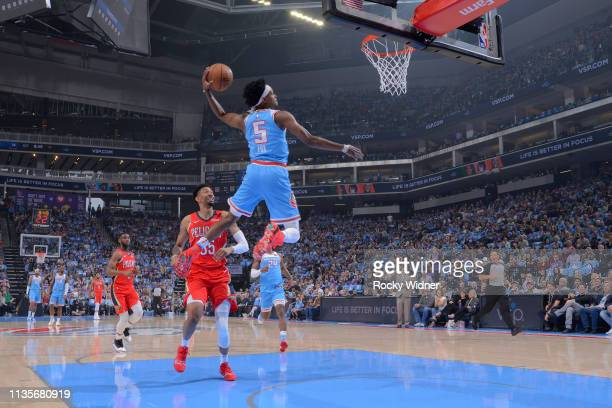 De'Aaron Fox of the Sacramento Kings dunks the ball against the New Orleans Pelicans on April 7 2019 at Golden 1 Center in Sacramento California NOTE...