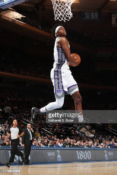 De'Aaron Fox of the Sacramento Kings dunks the ball against the New York Knicks on November 3, 2019 at Madison Square Garden in New York City, New...
