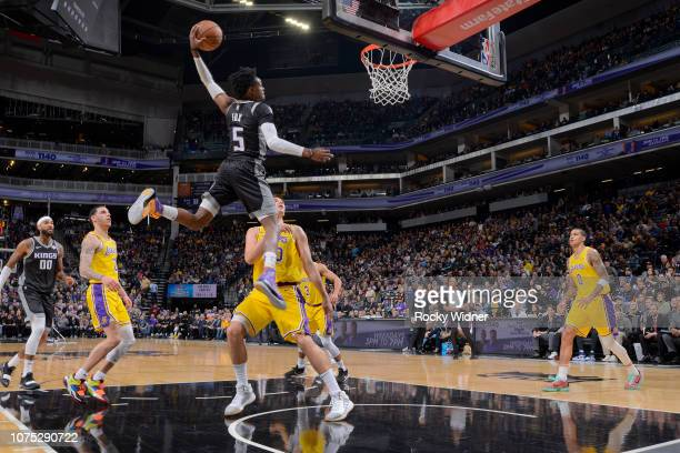 De'Aaron Fox of the Sacramento Kings dunks the ball during the game against the Los Angeles Lakers on December 27 2018 at Golden 1 Center in...