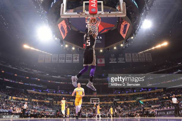 De'Aaron Fox of the Sacramento Kings dunks the ball during the game against the Los Angeles Lakers on January 9 2018 at STAPLES Center in Los Angeles...