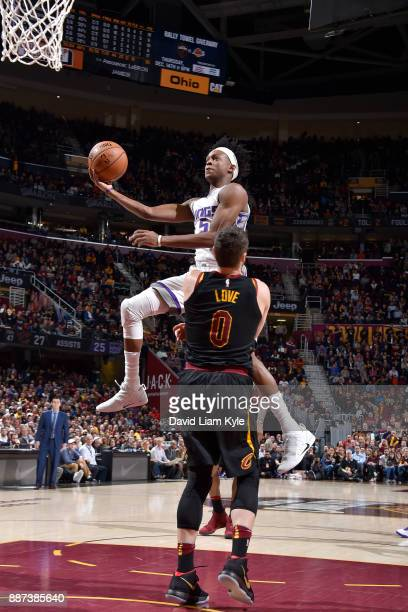 De'Aaron Fox of the Sacramento Kings goes for a lay up against the Cleveland Cavaliers on December 6 2017 at Quicken Loans Arena in Cleveland Ohio...