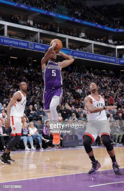 De'Aaron Fox of the Sacramento Kings goes up with the ball against the Toronto Raptors on March 8 2020 at Golden 1 Center in Sacramento California...