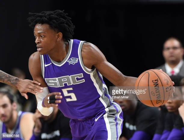 De'Aaron Fox of the Sacramento Kings handles the ball against the Los Angeles Lakers during their preseason game at TMobile Arena on October 8 2017...