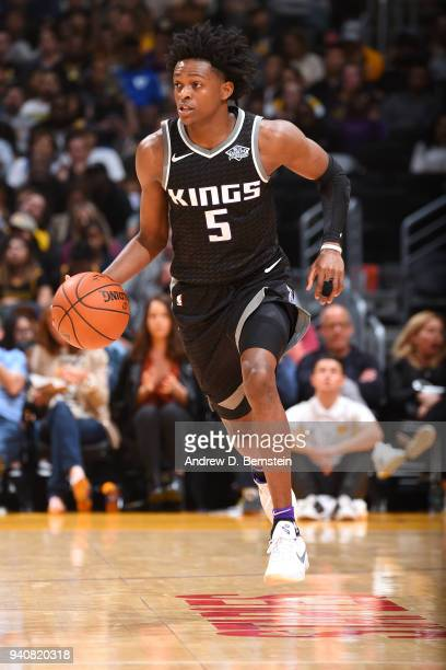 De'Aaron Fox of the Sacramento Kings handles the ball against the Los Angeles Lakers on April 1 2018 at STAPLES Center in Los Angeles California NOTE...
