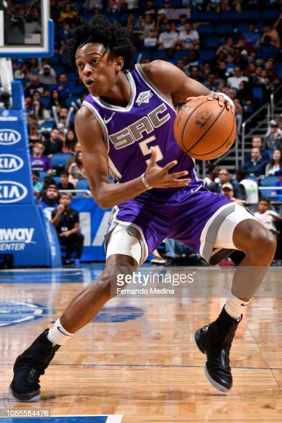 De'Aaron Fox of the Sacramento Kings handles the ball against the Orlando Magic on October 30 2018 at Amway Center in Orlando Florida NOTE TO USER...