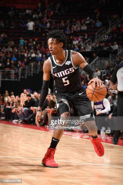 De'Aaron Fox of the Sacramento Kings handles the ball against the Detroit Pistons on January 19 2019 at Little Caesars Arena in Detroit Michigan NOTE...
