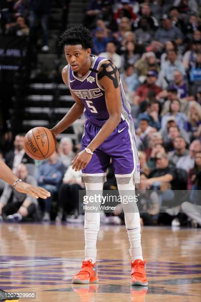 De'Aaron Fox of the Sacramento Kings handles the ball against the Toronto Raptors on March 8 2020 at Golden 1 Center in Sacramento California NOTE TO...