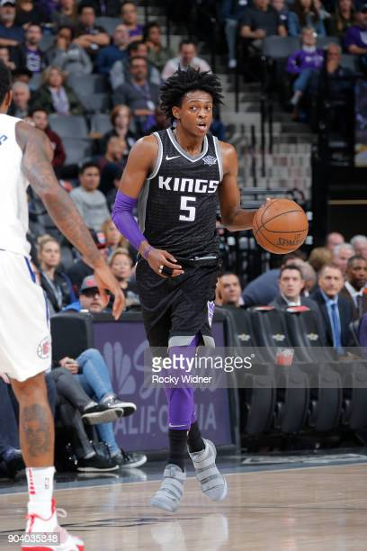 De'Aaron Fox of the Sacramento Kings handles the ball against the LA Clippers on January 11 2018 at Golden 1 Center in Sacramento California NOTE TO...