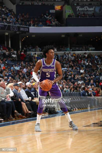 De'Aaron Fox of the Sacramento Kings handles the ball against the Memphis Grizzlies on January 19 2018 at FedExForum in Memphis Tennessee NOTE TO...