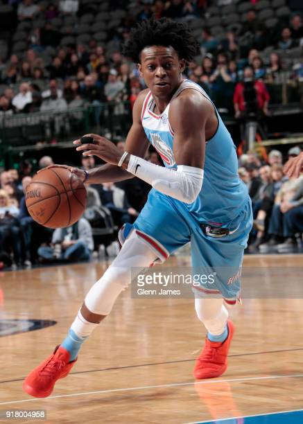 De'Aaron Fox of the Sacramento Kings handles the ball against the Dallas Mavericks on February 13 2018 at the American Airlines Center in Dallas...
