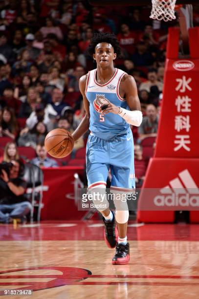 De'Aaron Fox of the Sacramento Kings handles the ball against the Houston Rockets on February 14 2018 at the Toyota Center in Houston Texas NOTE TO...
